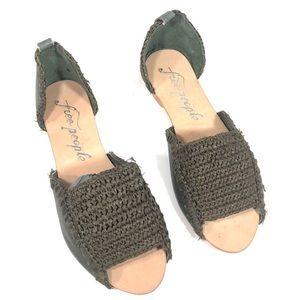 Free People green leather peep toe flats 8 (38)